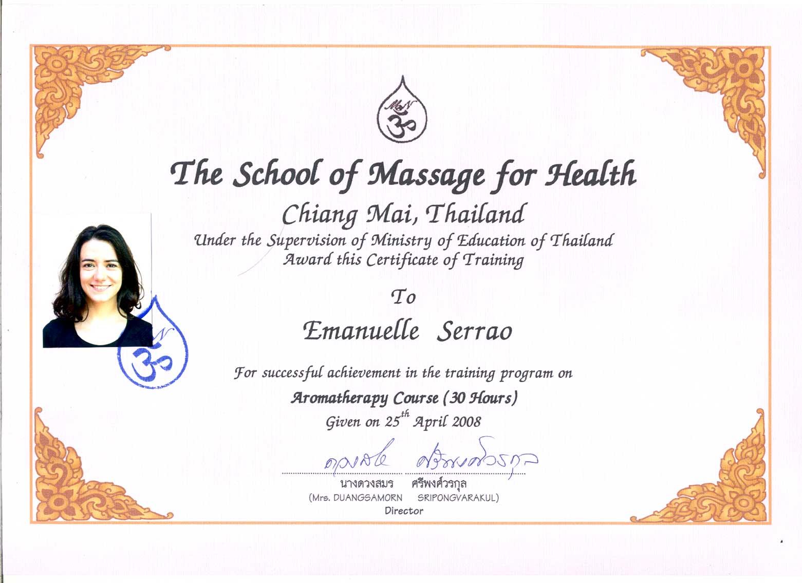 Diploma aromaterapia 2008