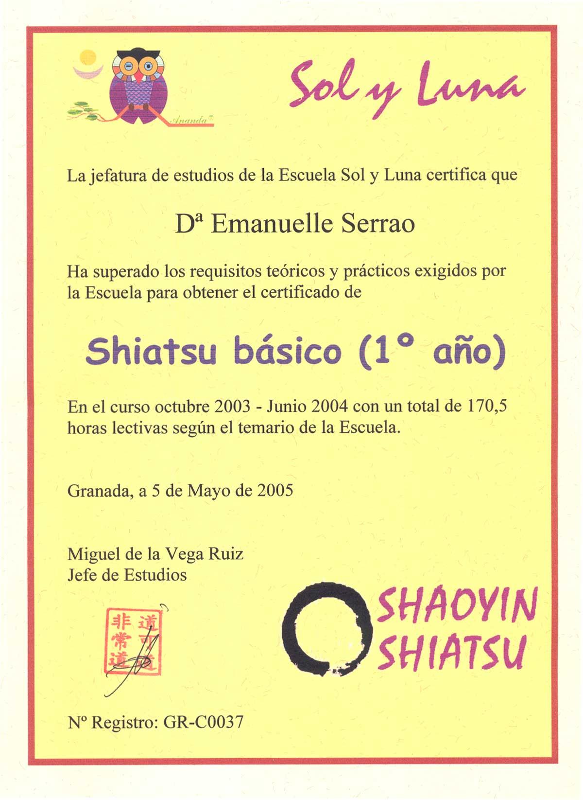 Diploma shiatsu basico Granada 2004