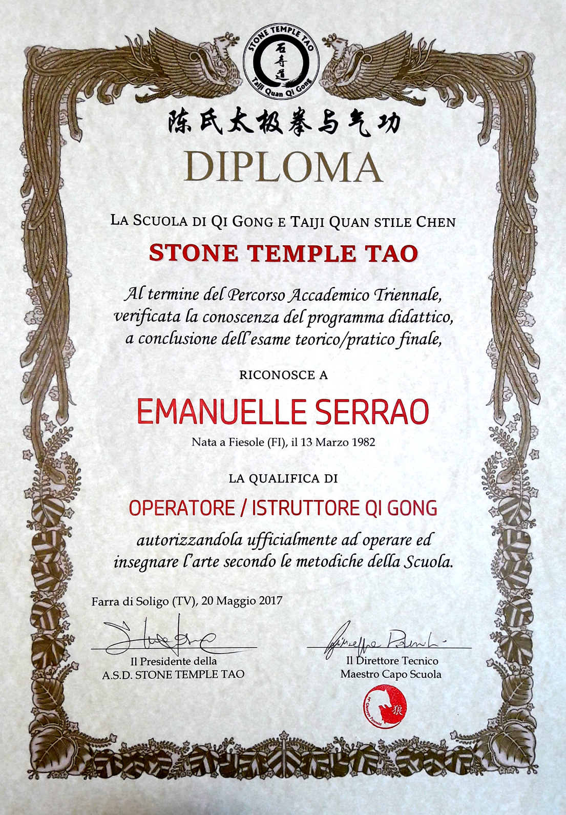 Diploma-Qi_Gong-Stone_Temple_Tao